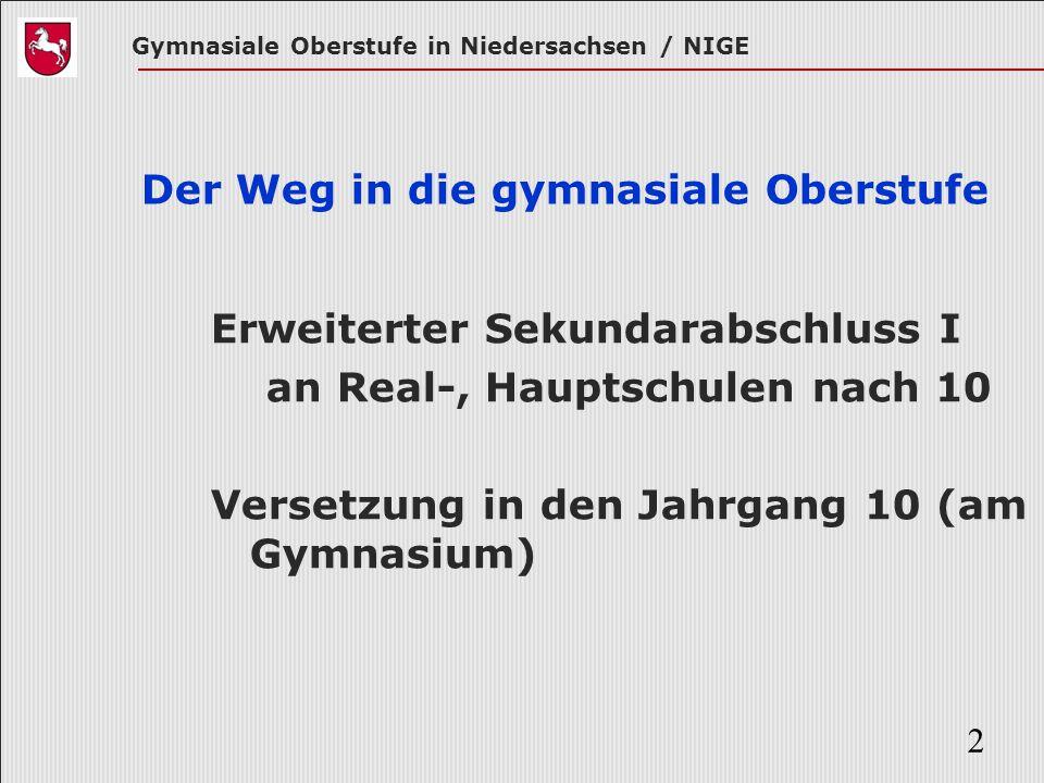 Gymnasiale Oberstufe in Niedersachsen / NIGE 2 Der Weg in die gymnasiale Oberstufe Erweiterter Sekundarabschluss I an Real-, Hauptschulen nach 10 Vers