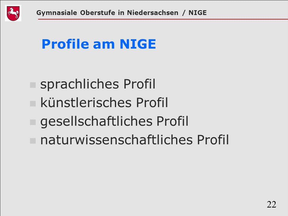 Gymnasiale Oberstufe in Niedersachsen / NIGE 22 Profile am NIGE sprachliches Profil künstlerisches Profil gesellschaftliches Profil naturwissenschaftl