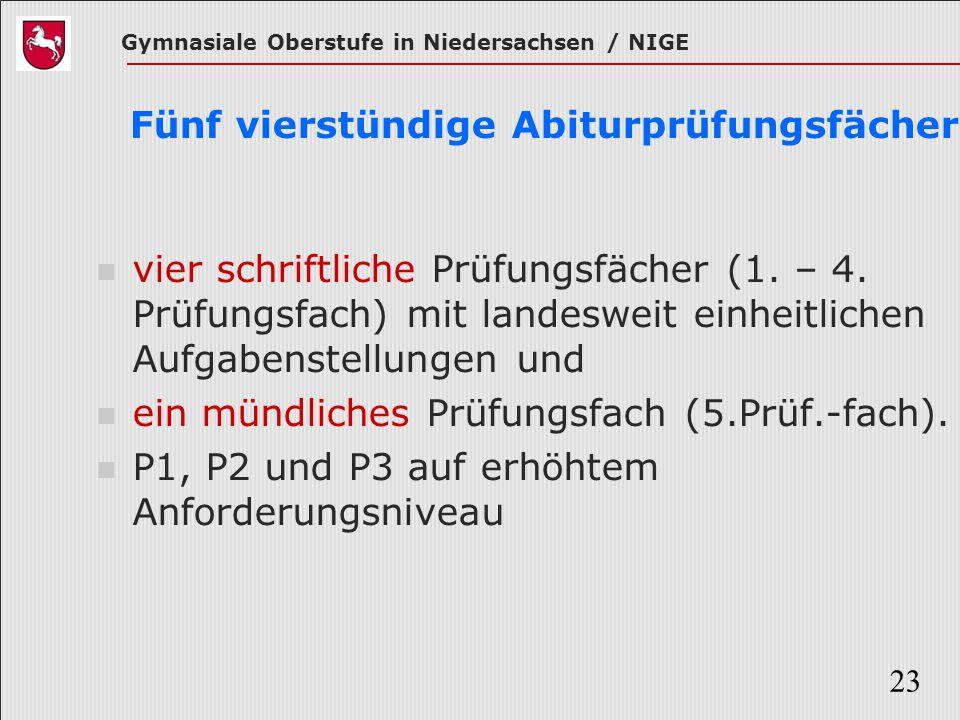 Gymnasiale Oberstufe in Niedersachsen / NIGE 23 Fünf vierstündige Abiturprüfungsfächer vier schriftliche Prüfungsfächer (1. – 4. Prüfungsfach) mit lan