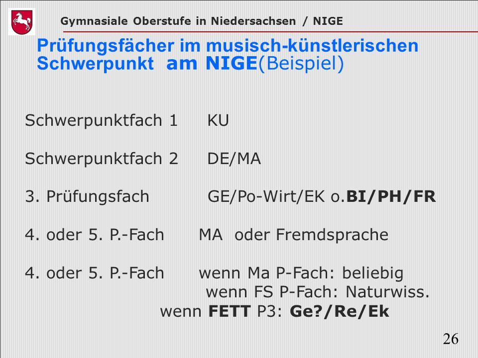 Gymnasiale Oberstufe in Niedersachsen / NIGE 26 Prüfungsfächer im musisch-künstlerischen Schwerpunkt am NIGE(Beispiel) Schwerpunktfach 1 KU Schwerpunk