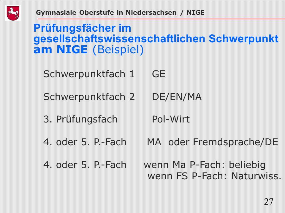 Gymnasiale Oberstufe in Niedersachsen / NIGE 27 Prüfungsfächer im gesellschaftswissenschaftlichen Schwerpunkt am NIGE (Beispiel) Schwerpunktfach 1 GE