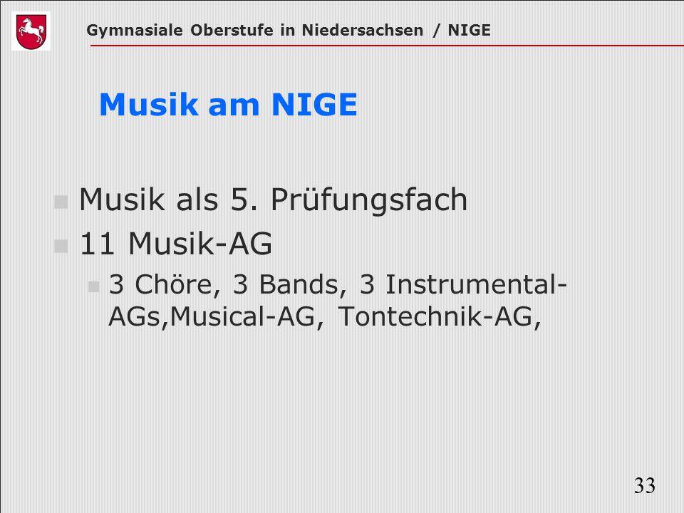 Gymnasiale Oberstufe in Niedersachsen / NIGE 33 Musik am NIGE Musik als 5. Prüfungsfach 11 Musik-AG 3 Chöre, 3 Bands, 3 Instrumental- AGs,Musical-AG,