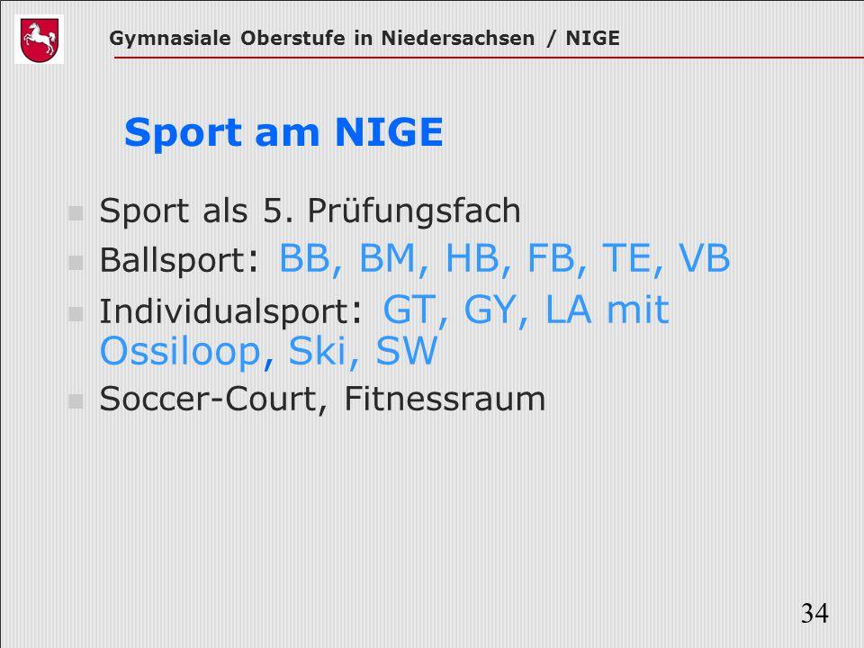 Gymnasiale Oberstufe in Niedersachsen / NIGE 34 Sport am NIGE Sport als 5. Prüfungsfach Ballsport : BB, BM, HB, FB, TE, VB Individualsport : GT, GY, L