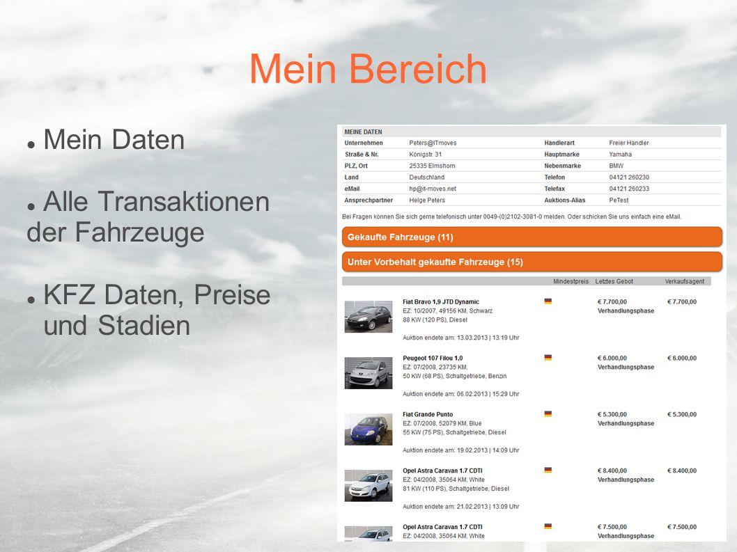 Fahrzeuglisten Alle Auktionsfahrzeuge auf einen Blick Kurzdaten zu jedem Fahrzeug Sortieren nach Wunsch Mit nur einem Klick zu den Details