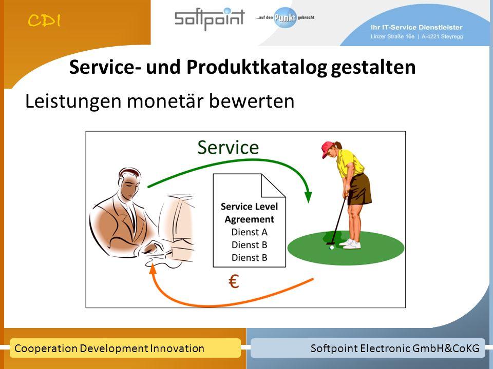 Softpoint Electronic GmbH&CoKGCooperation Development Innovation Service- und Produktkatalog gestalten Leistungen monetär bewerten