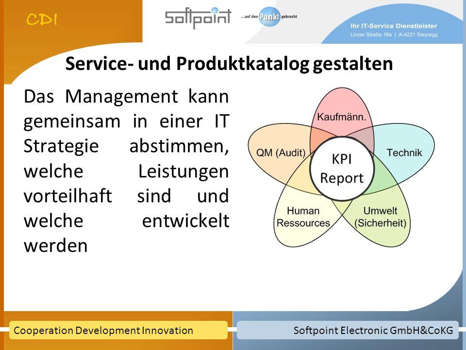 Softpoint Electronic GmbH&CoKGCooperation Development Innovation Service- und Produktkatalog gestalten Das Management kann gemeinsam in einer IT Strategie abstimmen, welche Leistungen vorteilhaft sind und welche entwickelt werden