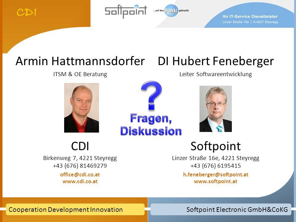 Softpoint Electronic GmbH&CoKGCooperation Development Innovation Armin Hattmannsdorfer ITSM & OE Beratung CDI Birkenweg 7, 4221 Steyregg +43 (676) 814