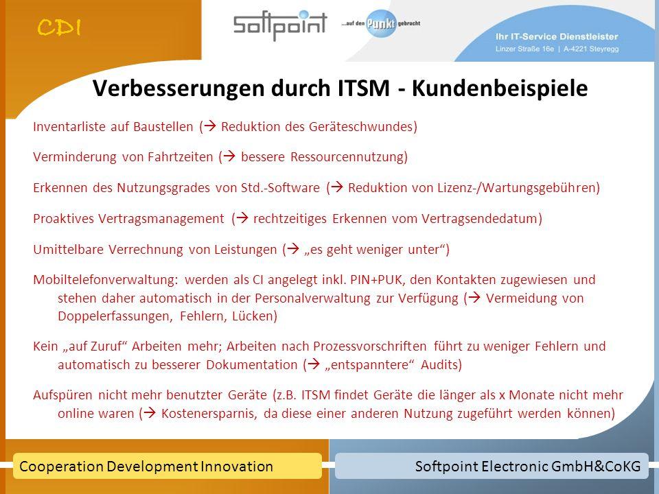 Softpoint Electronic GmbH&CoKGCooperation Development Innovation Verbesserungen durch ITSM - Kundenbeispiele Inventarliste auf Baustellen ( Reduktion des Geräteschwundes) Verminderung von Fahrtzeiten ( bessere Ressourcennutzung) Erkennen des Nutzungsgrades von Std.-Software ( Reduktion von Lizenz-/Wartungsgebühren) Proaktives Vertragsmanagement ( rechtzeitiges Erkennen vom Vertragsendedatum) Umittelbare Verrechnung von Leistungen ( es geht weniger unter) Mobiltelefonverwaltung: werden als CI angelegt inkl.