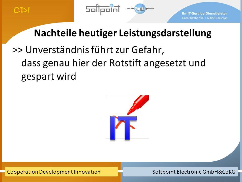 Softpoint Electronic GmbH&CoKGCooperation Development Innovation Argumente pro IT Voraussetzungen um IT positiv zu präsentieren sind da Servicegedanke ist verbreitet Servicestrukturen sind installiert Was fehlt: Sprache für Technik und Kaufmänner