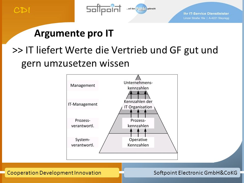 Softpoint Electronic GmbH&CoKGCooperation Development Innovation Argumente pro IT >> IT liefert Werte die Vertrieb und GF gut und gern umzusetzen wiss