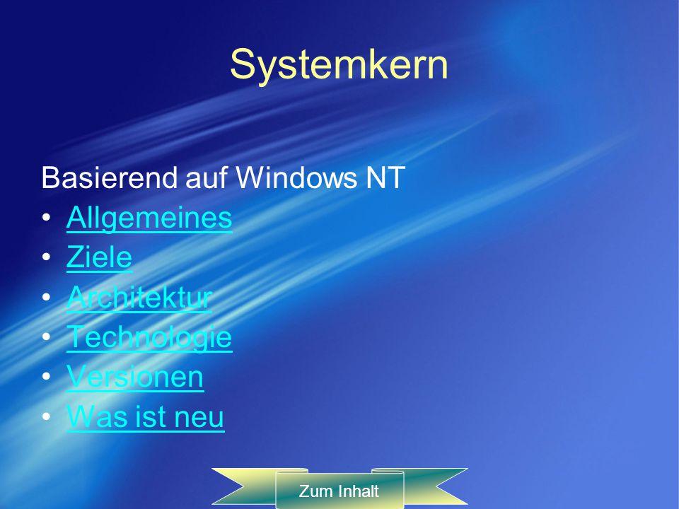 Systemkern Basierend auf Windows NT Allgemeines Ziele Architektur Technologie Versionen Was ist neu Zum Inhalt