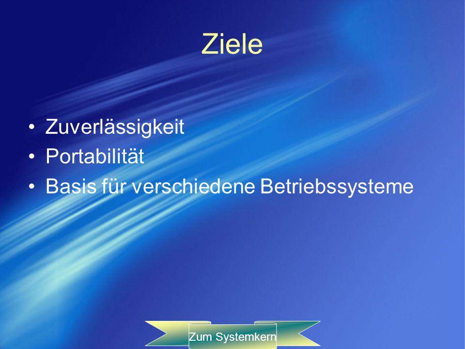 Ziele Zuverlässigkeit Portabilität Basis für verschiedene Betriebssysteme Zum Systemkern