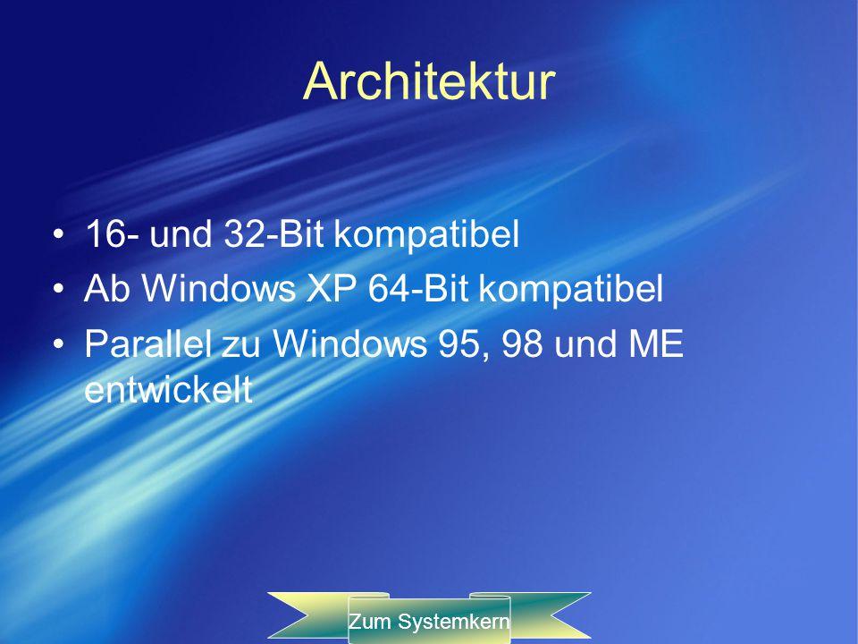 Architektur 16- und 32-Bit kompatibel Ab Windows XP 64-Bit kompatibel Parallel zu Windows 95, 98 und ME entwickelt Zum Systemkern