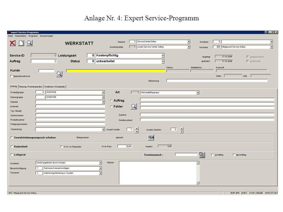 Anlage Nr. 4: Expert Service-Programm