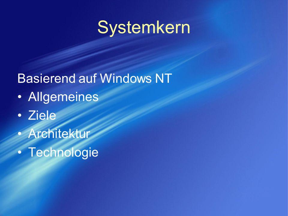 Systemkern Basierend auf Windows NT Allgemeines Ziele Architektur Technologie