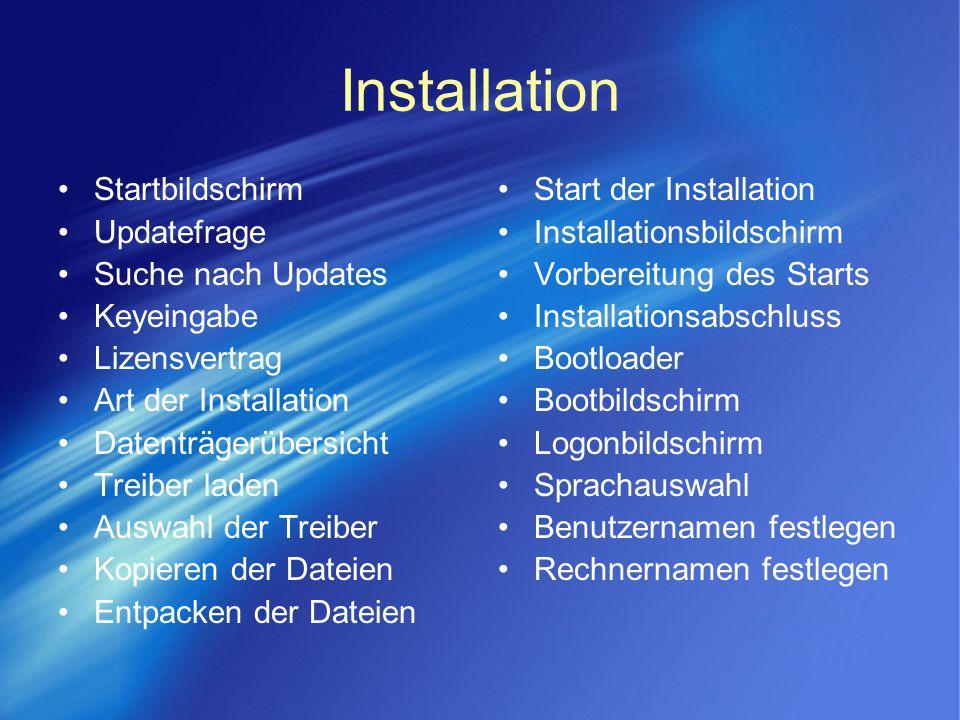 Installation Startbildschirm Updatefrage Suche nach Updates Keyeingabe Lizensvertrag Art der Installation Datenträgerübersicht Treiber laden Auswahl d