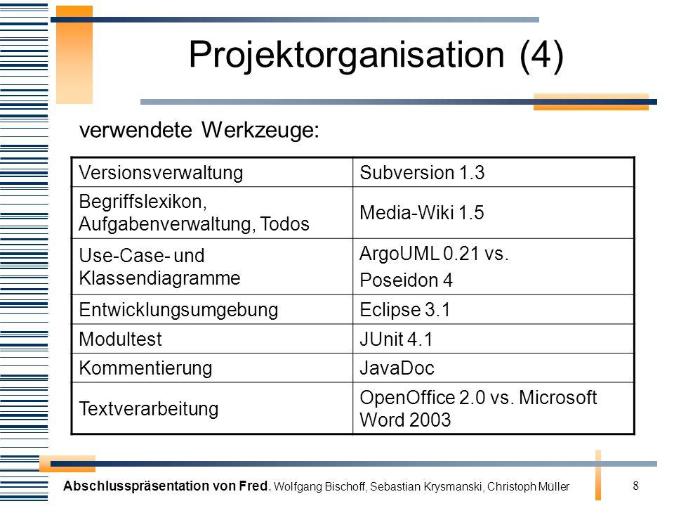 Abschlusspräsentation von Fred. Wolfgang Bischoff, Sebastian Krysmanski, Christoph Müller 8 Projektorganisation (4) VersionsverwaltungSubversion 1.3 B
