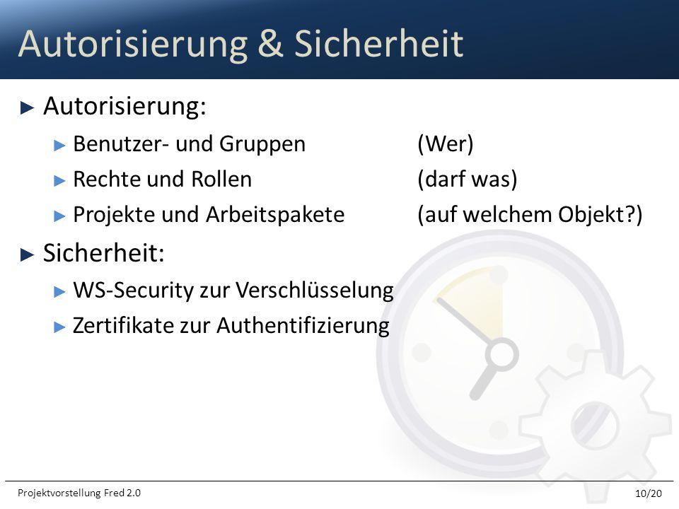 Autorisierung: Benutzer- und Gruppen(Wer) Rechte und Rollen(darf was) Projekte und Arbeitspakete(auf welchem Objekt?) Sicherheit: WS-Security zur Vers