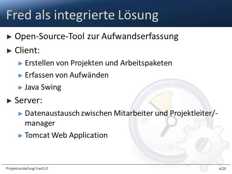 Open-Source-Tool zur Aufwandserfassung Client: Erstellen von Projekten und Arbeitspaketen Erfassen von Aufwänden Java Swing Server: Datenaustausch zwi