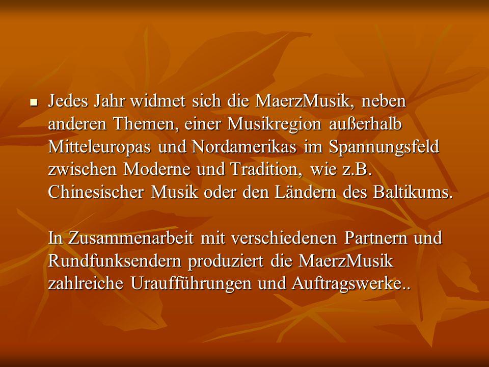 Jedes Jahr widmet sich die MaerzMusik, neben anderen Themen, einer Musikregion außerhalb Mitteleuropas und Nordamerikas im Spannungsfeld zwischen Moderne und Tradition, wie z.B.
