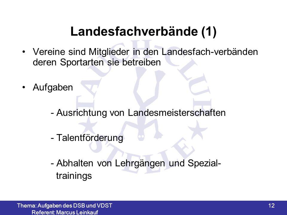 Thema: Aufgaben des DSB und VDST Referent: Marcus Leinkauf 12 Landesfachverbände (1) Vereine sind Mitglieder in den Landesfach-verbänden deren Sportar