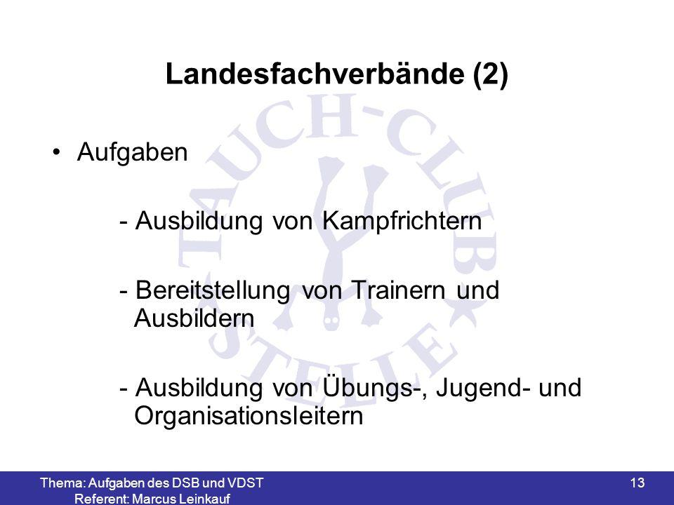 Thema: Aufgaben des DSB und VDST Referent: Marcus Leinkauf 13 Landesfachverbände (2) Aufgaben - Ausbildung von Kampfrichtern - Bereitstellung von Trai
