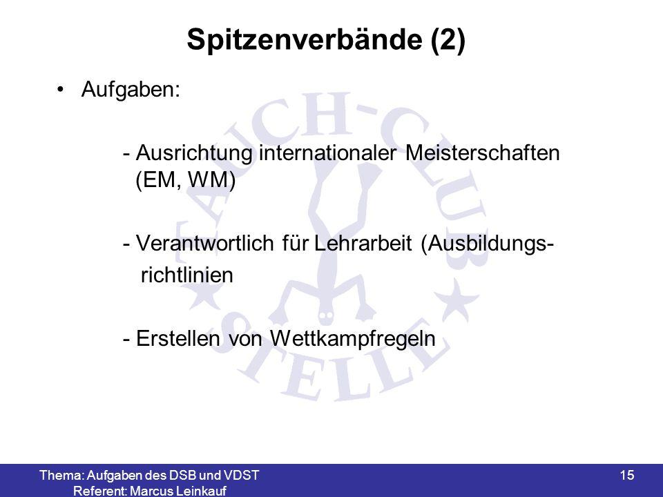 Thema: Aufgaben des DSB und VDST Referent: Marcus Leinkauf 15 Spitzenverbände (2) Aufgaben: - Ausrichtung internationaler Meisterschaften (EM, WM) - V