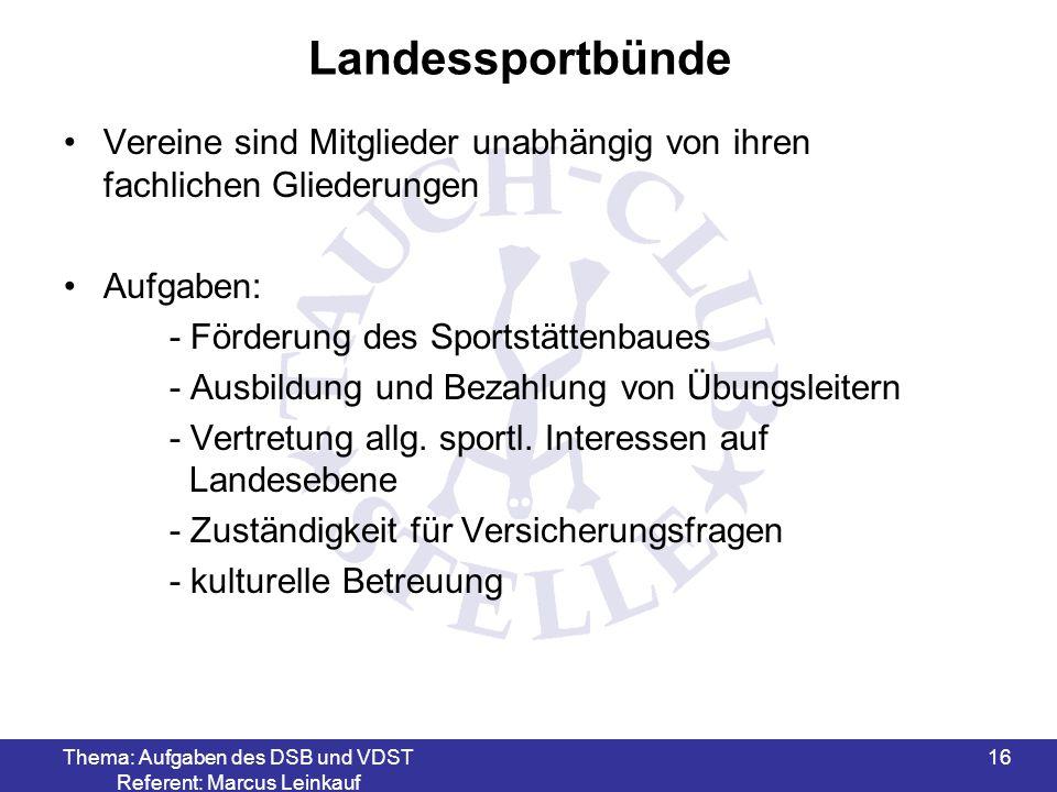 Thema: Aufgaben des DSB und VDST Referent: Marcus Leinkauf 16 Landessportbünde Vereine sind Mitglieder unabhängig von ihren fachlichen Gliederungen Au
