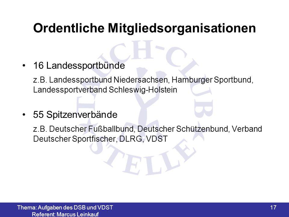 Thema: Aufgaben des DSB und VDST Referent: Marcus Leinkauf 17 Ordentliche Mitgliedsorganisationen 16 Landessportbünde z.B. Landessportbund Niedersachs