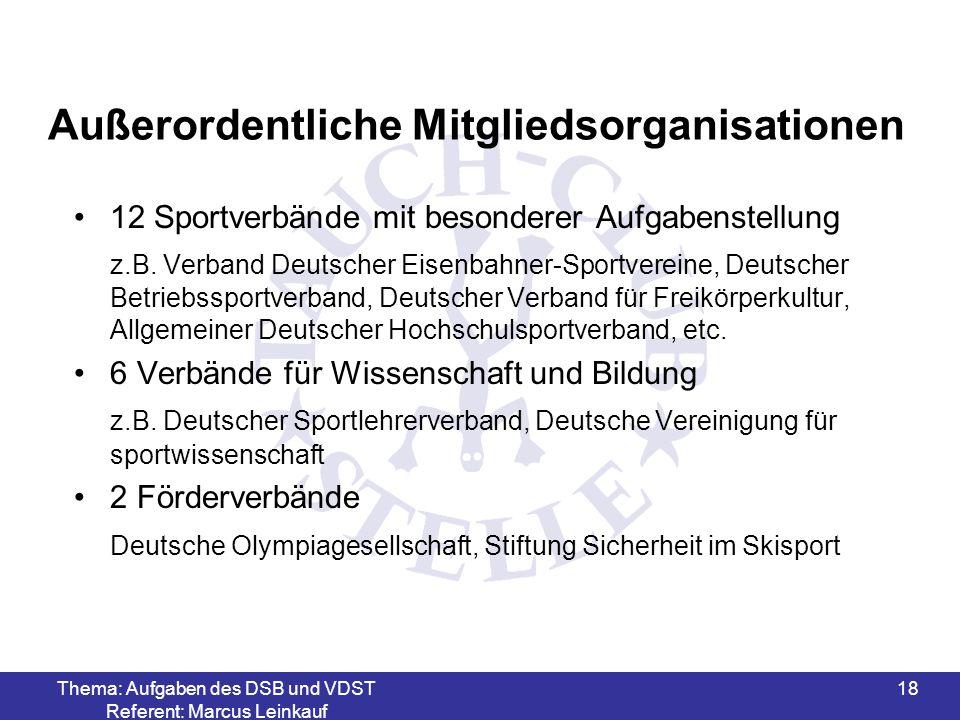 Thema: Aufgaben des DSB und VDST Referent: Marcus Leinkauf 18 Außerordentliche Mitgliedsorganisationen 12 Sportverbände mit besonderer Aufgabenstellun