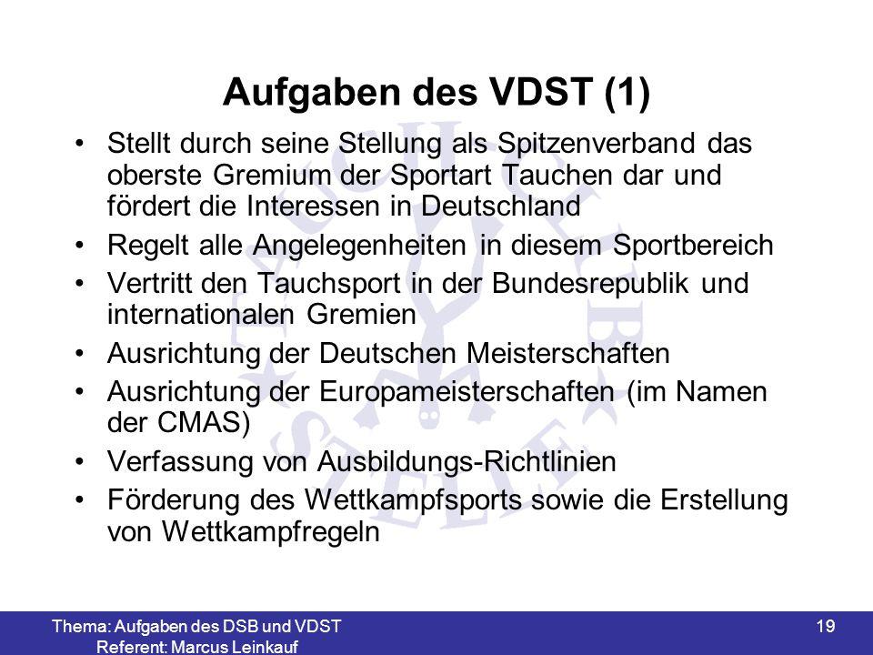 Thema: Aufgaben des DSB und VDST Referent: Marcus Leinkauf 19 Aufgaben des VDST (1) Stellt durch seine Stellung als Spitzenverband das oberste Gremium