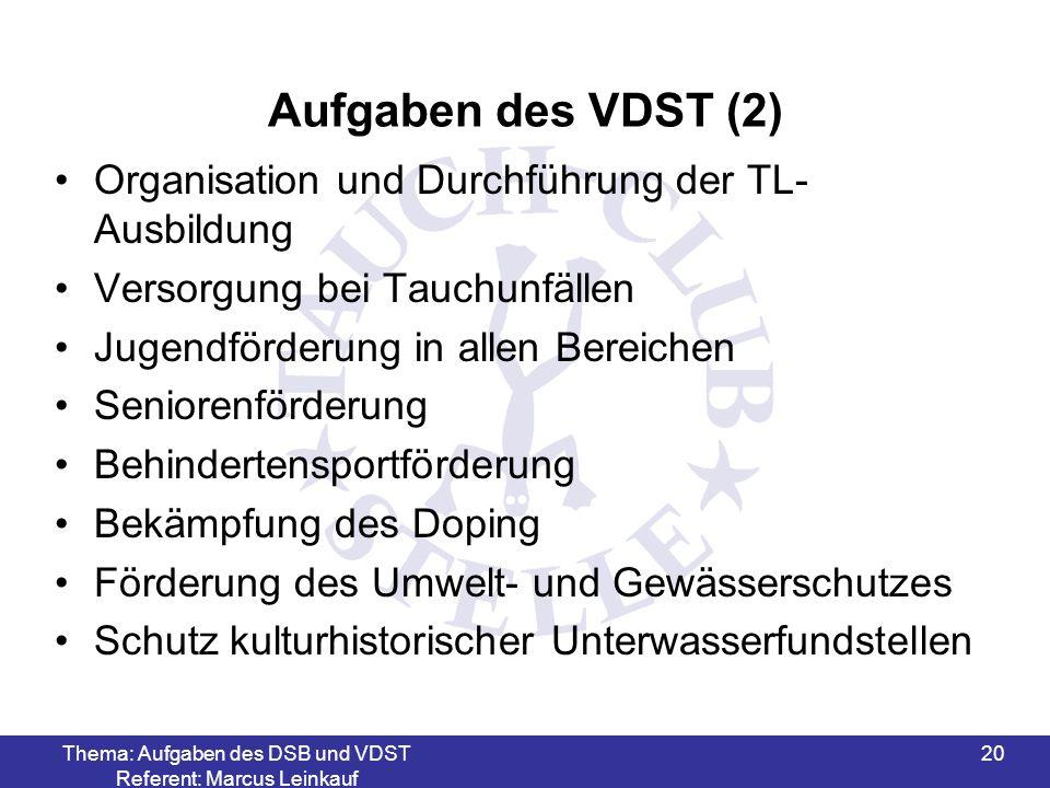 Thema: Aufgaben des DSB und VDST Referent: Marcus Leinkauf 20 Aufgaben des VDST (2) Organisation und Durchführung der TL- Ausbildung Versorgung bei Ta