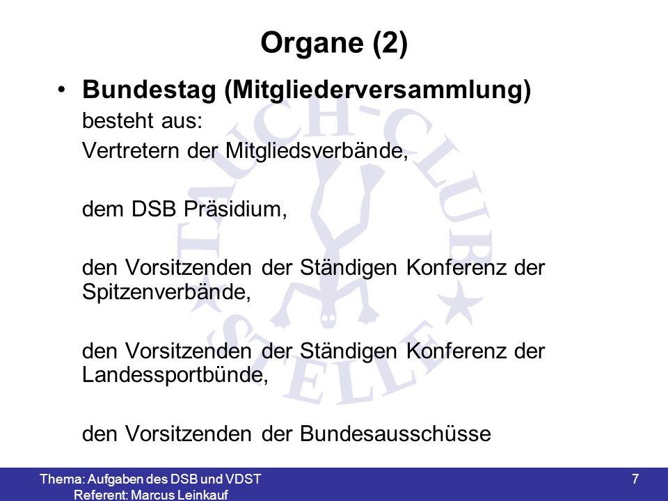 Thema: Aufgaben des DSB und VDST Referent: Marcus Leinkauf 7 Organe (2) Bundestag (Mitgliederversammlung) besteht aus: Vertretern der Mitgliedsverbänd