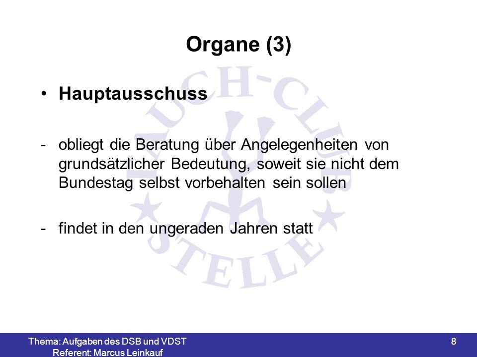 Thema: Aufgaben des DSB und VDST Referent: Marcus Leinkauf 8 Organe (3) Hauptausschuss -obliegt die Beratung über Angelegenheiten von grundsätzlicher