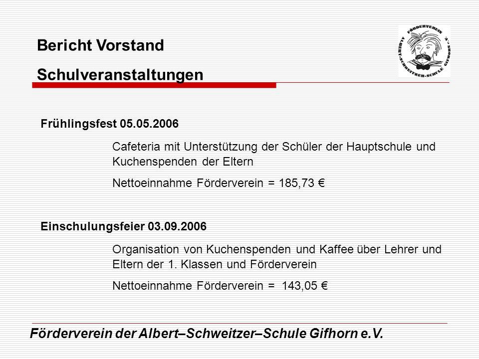 Förderverein der Albert–Schweitzer–Schule Gifhorn e.V. Bericht Vorstand Schulveranstaltungen Frühlingsfest 05.05.2006 Cafeteria mit Unterstützung der