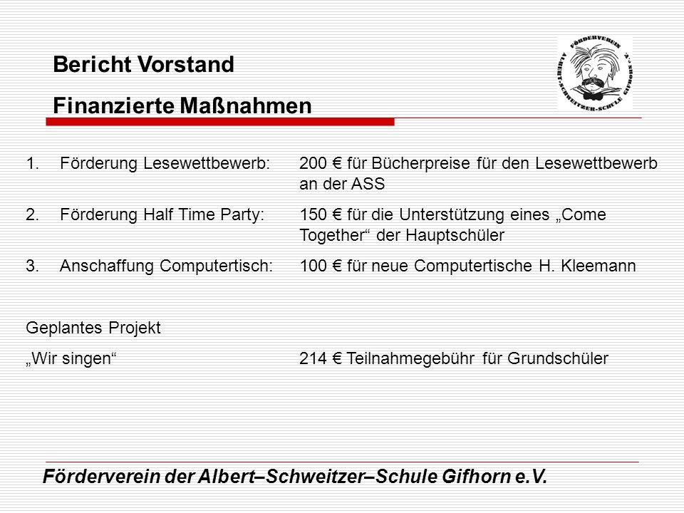 Förderverein der Albert–Schweitzer–Schule Gifhorn e.V. Bericht Vorstand Finanzierte Maßnahmen 1.Förderung Lesewettbewerb:200 für Bücherpreise für den