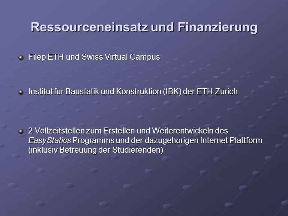 Ressourceneinsatz und Finanzierung Filep ETH und Swiss Virtual Campus Institut für Baustatik und Konstruktion (IBK) der ETH Zürich 2 Vollzeitstellen zum Erstellen und Weiterentwickeln des EasyStatics Programms und der dazugehörigen Internet Plattform (inklusiv Betreuung der Studierenden)