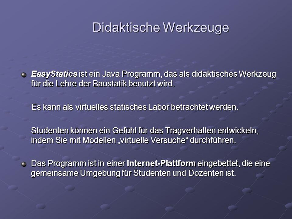 Didaktische Werkzeuge EasyStatics ist ein Java Programm, das als didaktisches Werkzeug für die Lehre der Baustatik benutzt wird.