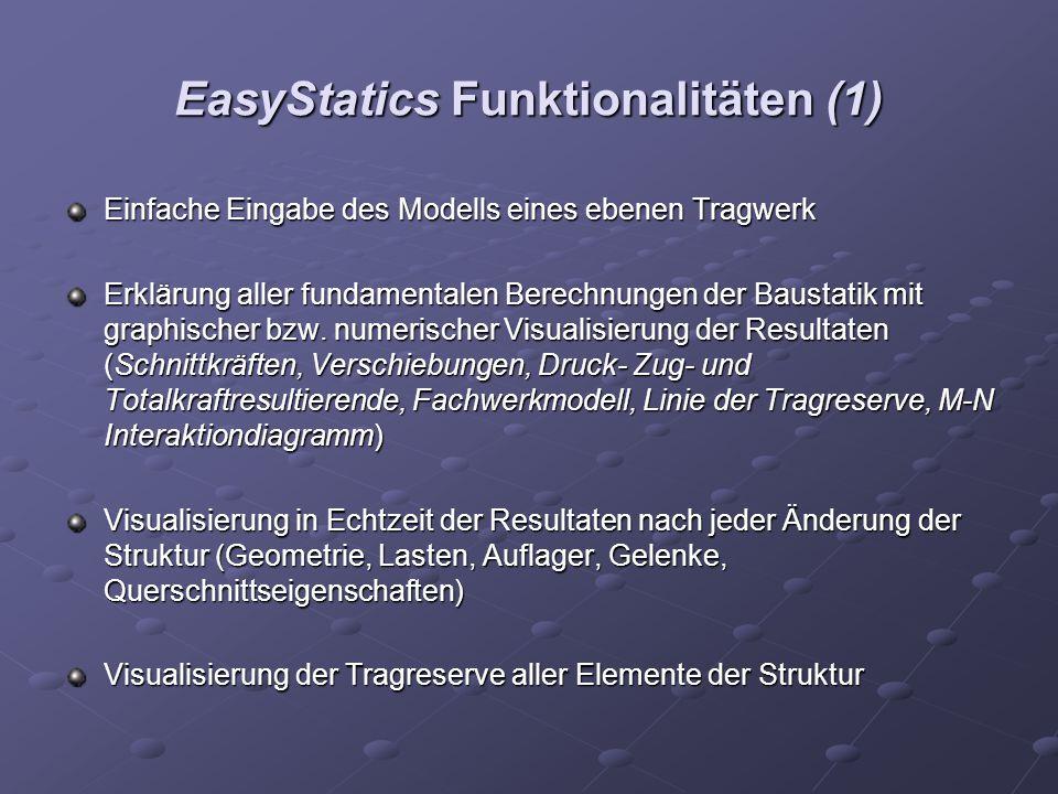 EasyStatics Funktionalitäten (1) Einfache Eingabe des Modells eines ebenen Tragwerk Erklärung aller fundamentalen Berechnungen der Baustatik mit graphischer bzw.