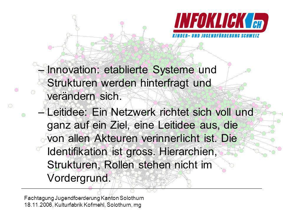 Fachtagung Jugendfoerderung Kanton Solothurn 18.11.2006, Kulturfabrik Kofmehl, Solothurn, mg –Innovation: etablierte Systeme und Strukturen werden hinterfragt und verändern sich.