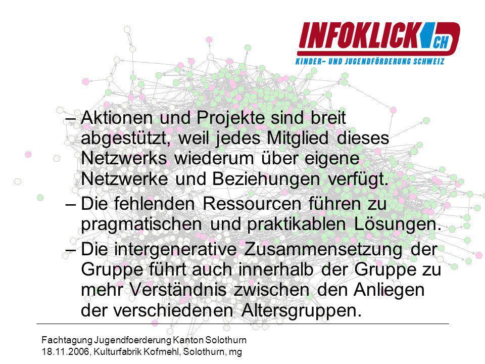 Fachtagung Jugendfoerderung Kanton Solothurn 18.11.2006, Kulturfabrik Kofmehl, Solothurn, mg –Aktionen und Projekte sind breit abgestützt, weil jedes Mitglied dieses Netzwerks wiederum über eigene Netzwerke und Beziehungen verfügt.