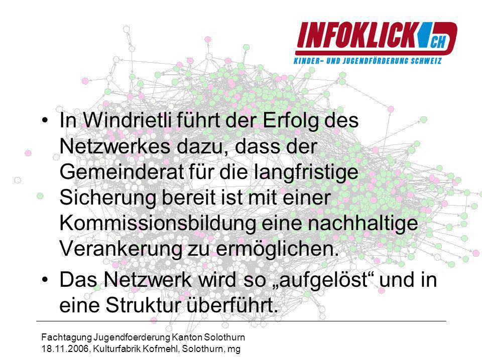 Fachtagung Jugendfoerderung Kanton Solothurn 18.11.2006, Kulturfabrik Kofmehl, Solothurn, mg In Windrietli führt der Erfolg des Netzwerkes dazu, dass der Gemeinderat für die langfristige Sicherung bereit ist mit einer Kommissionsbildung eine nachhaltige Verankerung zu ermöglichen.