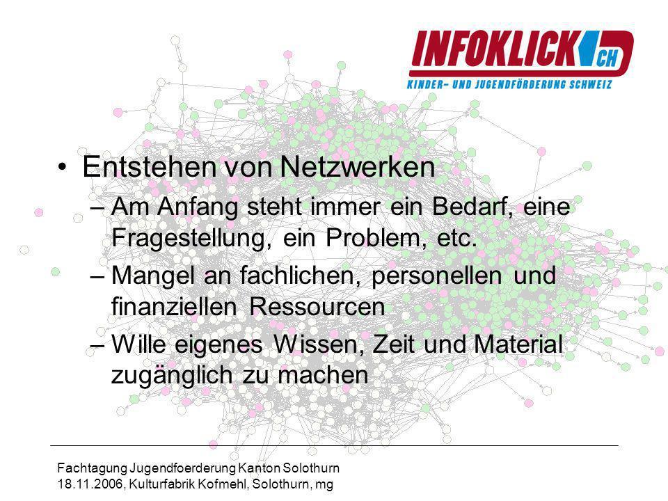 Fachtagung Jugendfoerderung Kanton Solothurn 18.11.2006, Kulturfabrik Kofmehl, Solothurn, mg Entstehen von Netzwerken –Am Anfang steht immer ein Bedarf, eine Fragestellung, ein Problem, etc.
