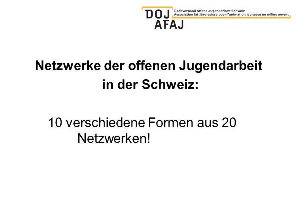 Netzwerke der offenen Jugendarbeit in der Schweiz: 10 verschiedene Formen aus 20 Netzwerken!