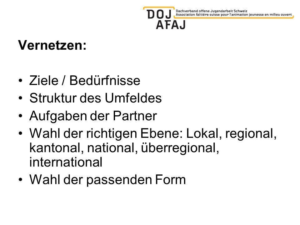 Vernetzen: Ziele / Bedürfnisse Struktur des Umfeldes Aufgaben der Partner Wahl der richtigen Ebene: Lokal, regional, kantonal, national, überregional, international Wahl der passenden Form