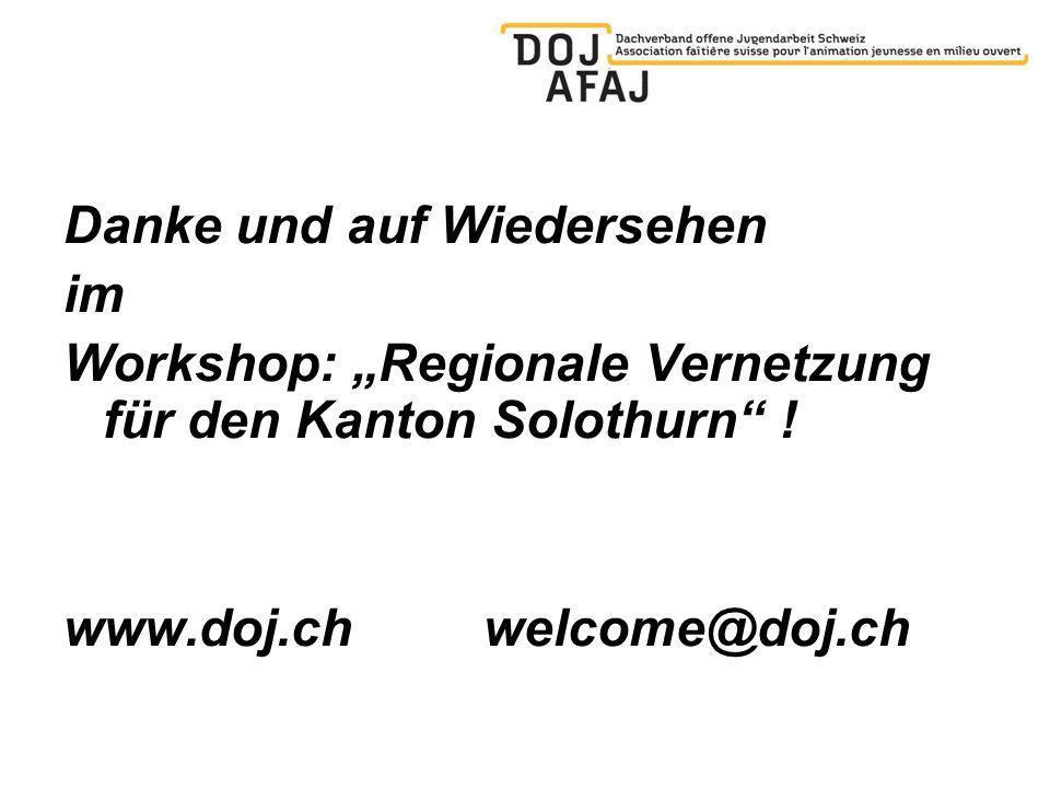 Danke und auf Wiedersehen im Workshop: Regionale Vernetzung für den Kanton Solothurn .