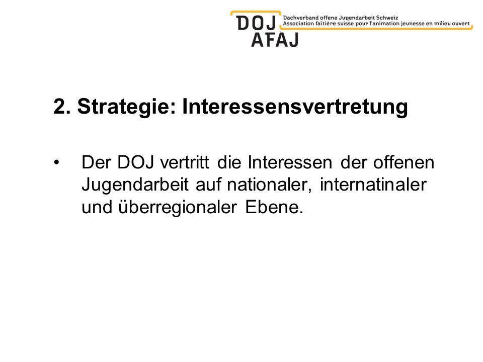 2. Strategie: Interessensvertretung Der DOJ vertritt die Interessen der offenen Jugendarbeit auf nationaler, internatinaler und überregionaler Ebene.