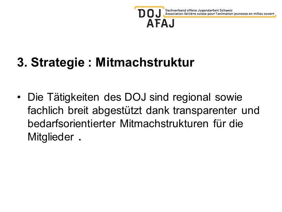 3. Strategie : Mitmachstruktur Die Tätigkeiten des DOJ sind regional sowie fachlich breit abgestützt dank transparenter und bedarfsorientierter Mitmac