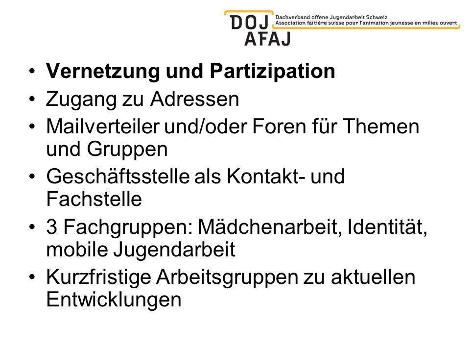 Drehscheibe und Wissens-Plattform: Die DOJ-Kommunikationsmittel Website www.doj.ch Newsletter Fachzeitschrift InfoAnimation (3x jährlich) Eine jährliche Fachtagung und bis zu fünf Bildungsveranstaltungen jährlich