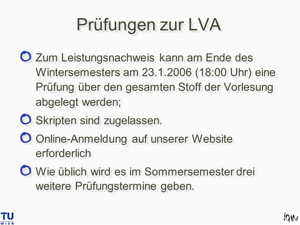 Prüfungen zur LVA Zum Leistungsnachweis kann am Ende des Wintersemesters am 23.1.2006 (18:00 Uhr) eine Prüfung über den gesamten Stoff der Vorlesung abgelegt werden; Skripten sind zugelassen.